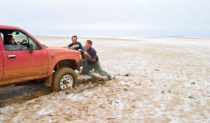 Bogged on LAke Eyre, a close escape!