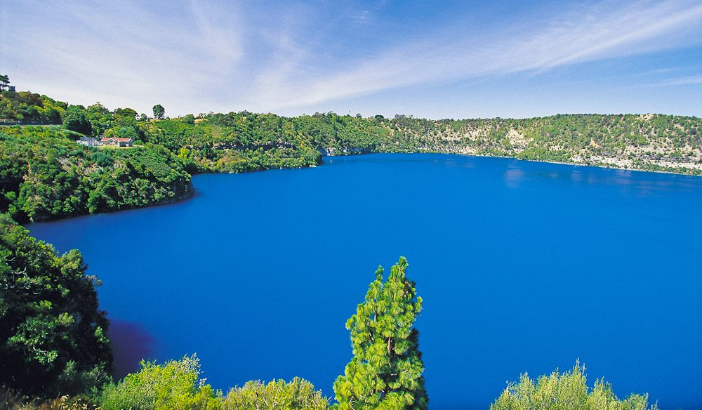 See the changing colours of Blue Lake, Mt Gambier