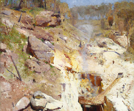 Arthur Streeton's Fire's On remains a popular favourite. Image by Art Gallery of NSW.