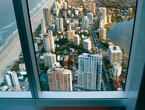 The view from Q1 down to Surfers Paradise. Image by Tourism QLD