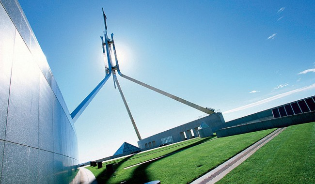 The flag flies over Parliament House. Image by Australian Capital Tourism