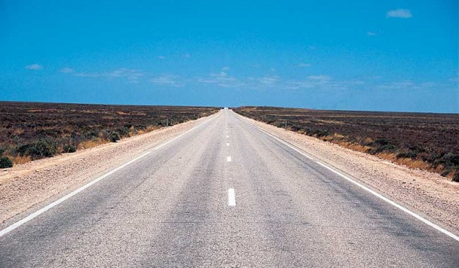 Of all the many dangers posed by venturing into the outback, the Nullarbor�s foremost is probably white-line fever. - Simon Bayliss/ORTO
