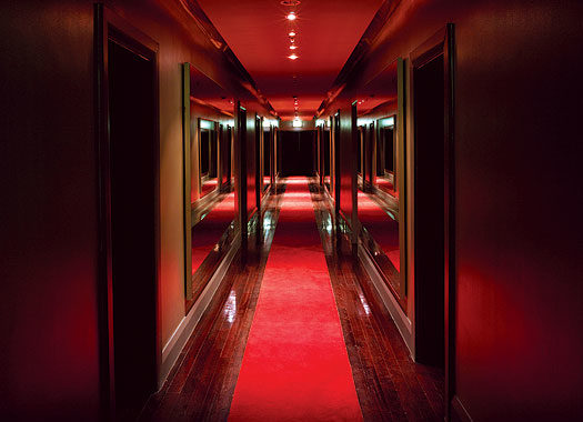 Dim hallways? Must be the deep red of Darlinghurst's Kirketon interior,