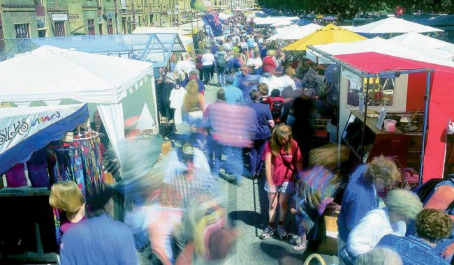 The free Saturday markets at Salamanca Place. Image by Tourism Tasmania.