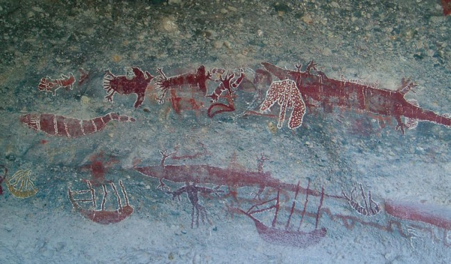 Reflecting their long occupation, Yithuwarra heritage sites include mammoth rock art galleries on Stanley Island that depict contact with European explorers in the late 1800s. Image by Fiona Harper