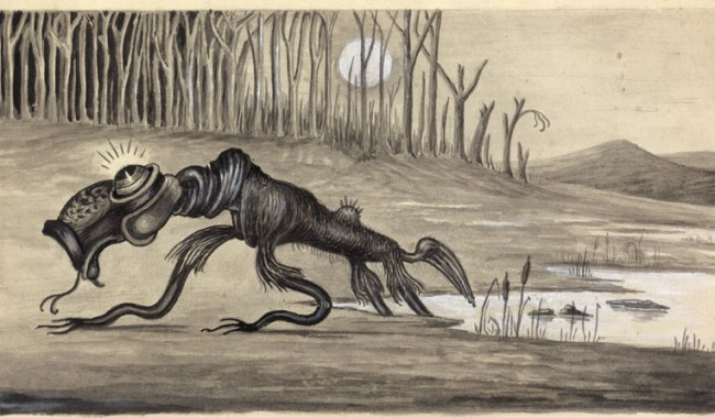 Myth, legend or ancestral memory of a giant prehistoric marsupial? The bunyip is all of these things, and more . . . Image courtesy of the National Library of Australia