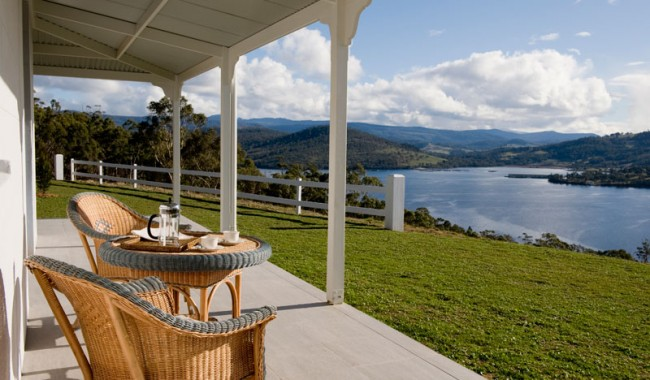 From the wrap-around verandah there are views to the south of the Hartz Mountains and the southwest wilderness, with the Sleeping Beauty mountain range visible to the north.