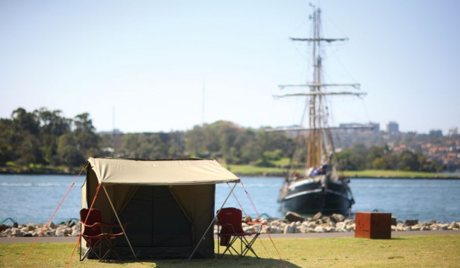 So near, and yet so far . . . camping on Cockatoo Island in the middle of Sydney Harbour, with the humming city for a backdrop, is all about escaping without actually having to go anywhere.