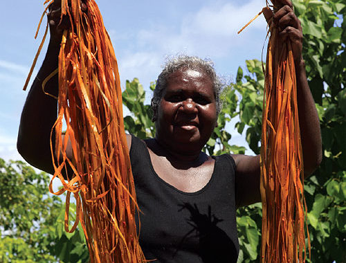 Judy Gurruwiwi prepares strands of pandanus for weaving.