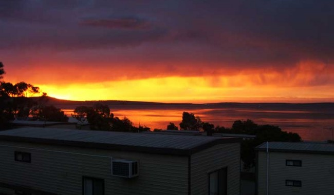 Sunset over the Port Lincoln Tourist Park, incredibly cheap for beach front accommodation