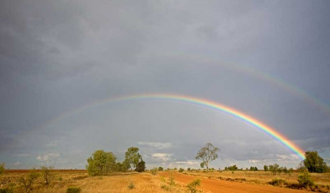 Rainbows are magic, especially set against a dramatic outback landscape and sky.  Nature really is true gold for the senses.