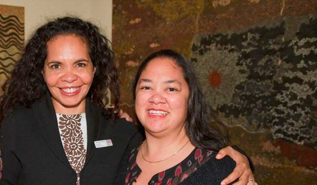 Franchesca Cubillo (left) and Tina Baum, curator of the Aboriginal and Torres Straight Islander Art