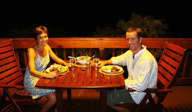 Kooljaman-balcony-dinner--safari-tent--bush-butler-food