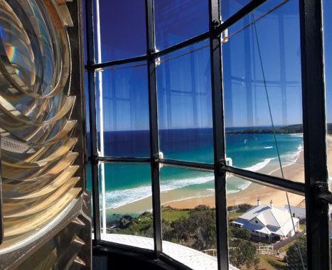 A bird's eye view from the refurbed Sugarloaf Point Lighthouse Cottages at Seal Rocks.