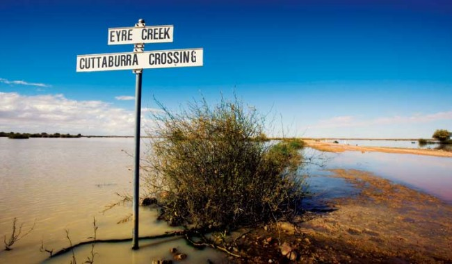 The beginning of the vast Eyre Creek floodplains, near the junction of the SA, NT and Qld borders.