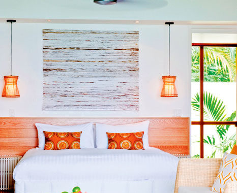 A chic, beachy-feel bedroom at Lizard Island.