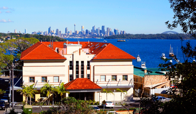 Watsons Bay Hotel with the City in thebackground