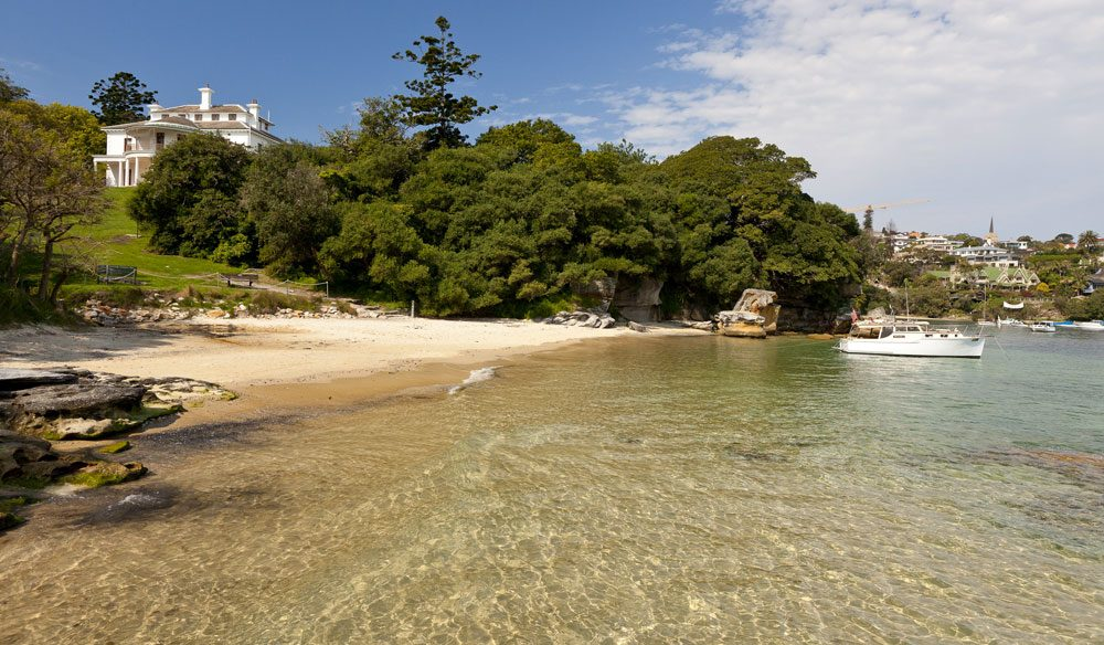 Milk Beach, below Sydney's Strickland House