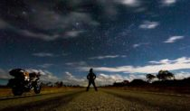 Sunny and his Ducati under the stars. En route to Halls Creek (Photo: Sunny Gajjar)
