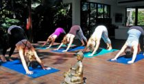 Yoga at the luxury Escape Haven at Byron Bay - which also offer surfing, a cooking school and, of course, massages.(Photo: Alisa Katan)