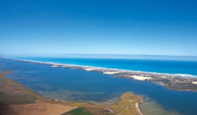 200km of beach along the Coorong is only interrupted by the River Murray's mouth.