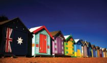 Retro Colours: Bathing boxes at Brighton Beach, Melbourne.
